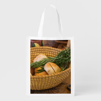 Food - Bread - Rolls and Rosemary Reusable Grocery Bag