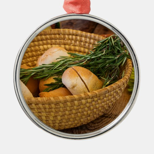 Food - Bread - Rolls and Rosemary Silver-Colored Round Decoration
