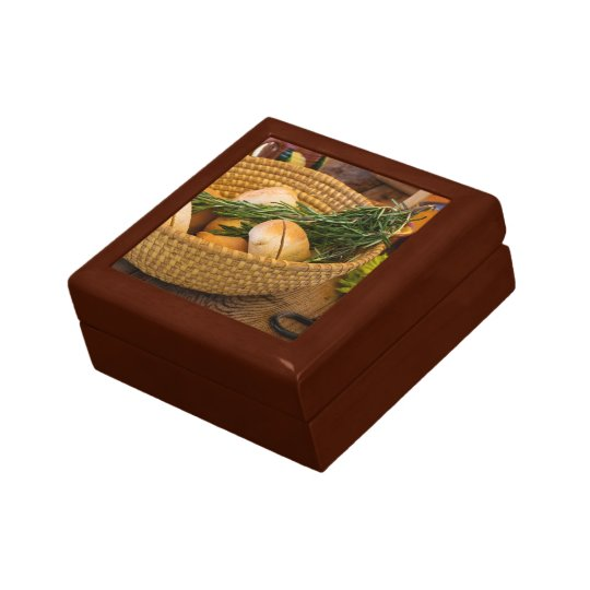Food - Bread - Rolls and Rosemary Small Square Gift Box