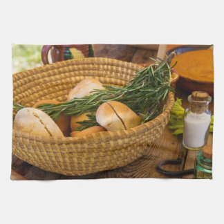 Food - Bread - Rolls and Rosemary Towels