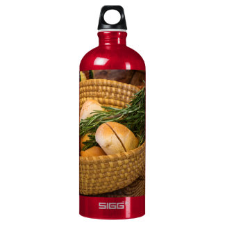 Food - Bread - Rolls and Rosemary Water Bottle