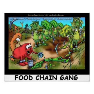 Food Chain Gang Funny Art Canvas Prints Posters