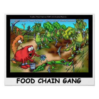 Food Chain Gang Funny Art Posters Posters