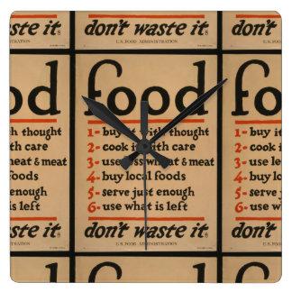 Food, Don't Waste It - Vintage War Poster Clock