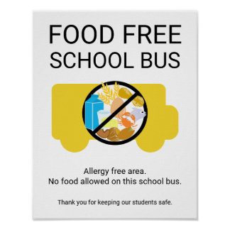 Food Free School Bus Allergy Safe Area Poster