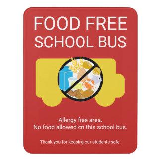 Food Free School Bus Allergy Safe Area Poster. Cus Door Sign