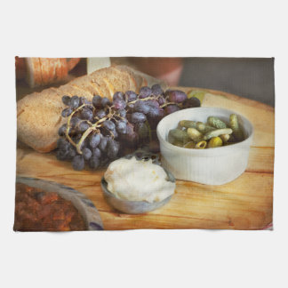 Food - Fruit - Gherkins and Grapes Tea Towel