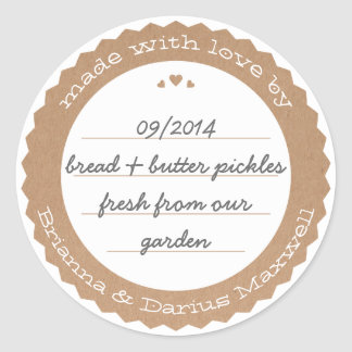 Food Gift Label Sticker Circle Kraft Paper