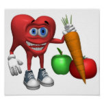 Food-Health Heart Fruits and Veggies Poster