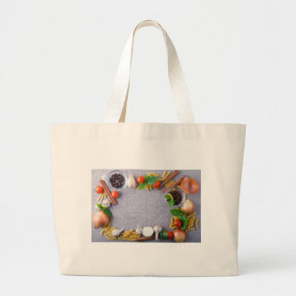 Food ingredients are installed as a frame large tote bag