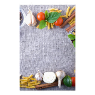 Food ingredients are installed as a frame stationery