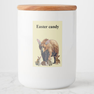 """Food label """"Easter Candy"""" w/ grizzly bear & rabbit"""