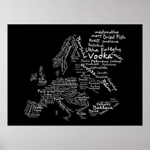 Food Map of Europe (Black) Poster