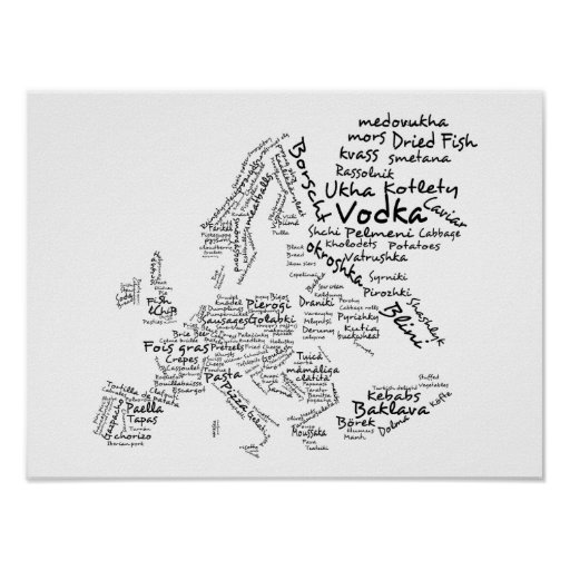 Food Map of Europe (SMALL) Poster