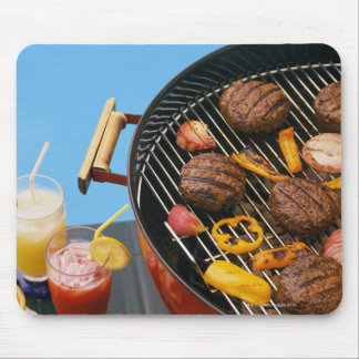Food on grill mouse pad