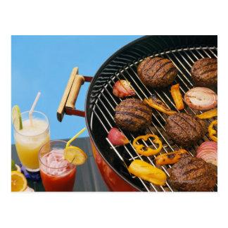 Food on grill postcard