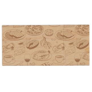 Food Pattern 3 Wood USB 2.0 Flash Drive