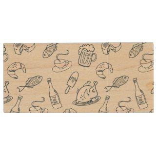 Food Pattern Wood USB 2.0 Flash Drive