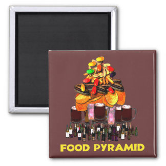 Food Pyramid Square Magnet