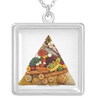 Food Pyramid Square Pendant Necklace