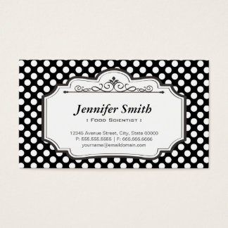 Food Scientist - Black Polka Dots Business Card