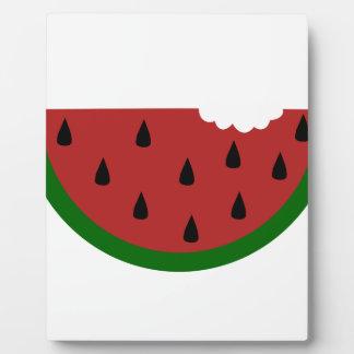 food slice fruit bitten watermelon plaque