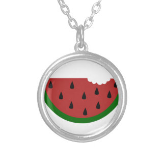 food slice fruit bitten watermelon silver plated necklace