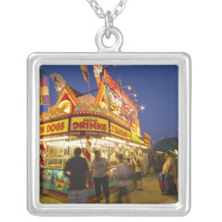 Food stand at the Northwest Montana Fair in Square Pendant Necklace