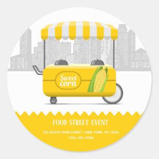 Food street sweet corn classic round sticker