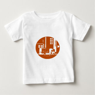 Food Truck City Buildings Oval Woodcut Baby T-Shirt