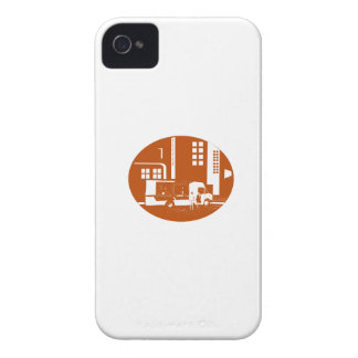 Food Truck City Buildings Oval Woodcut Case-Mate iPhone 4 Cases