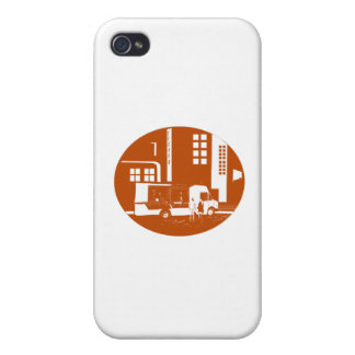 Food Truck City Buildings Oval Woodcut iPhone 4 Case