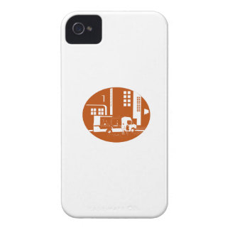 Food Truck City Buildings Oval Woodcut iPhone 4 Cover