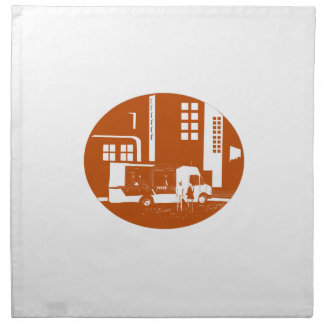 Food Truck City Buildings Oval Woodcut Napkin