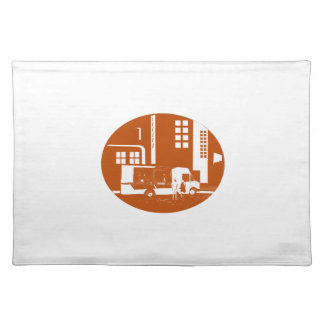 Food Truck City Buildings Oval Woodcut Placemat