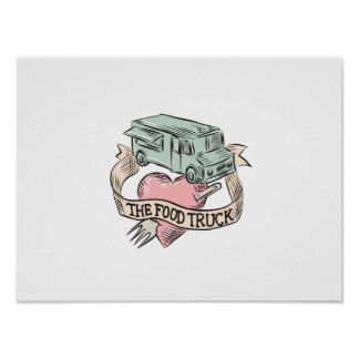 Food Truck Heart Fork Etching Poster