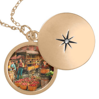 Food - Vegetables - Indianapolis Market 1908 Gold Plated Necklace