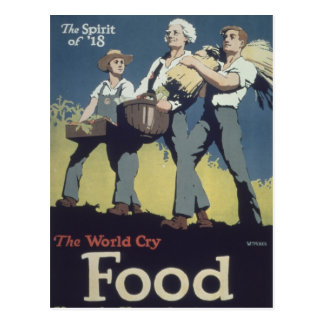 Food WWI - Vintage Cartoon Postcard
