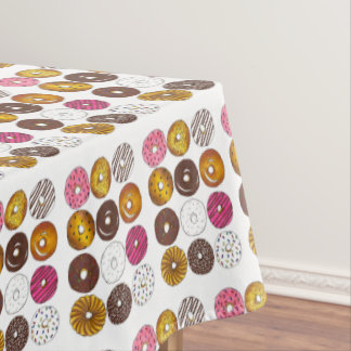 Foodie Doughnut Shop Breakfast Food Donut Print Tablecloth