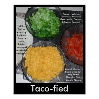 Foodie Poster Taco Vegies Healthy Eating Foods 2
