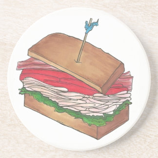 Foodie Turkey Club Sandwich Shop Diner Deli Lunch Coaster