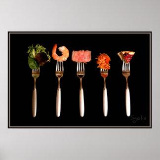Foods on Forks Poster (Black)