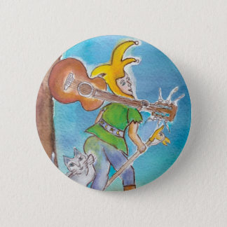 Fool with Guitar (round button) 6 Cm Round Badge