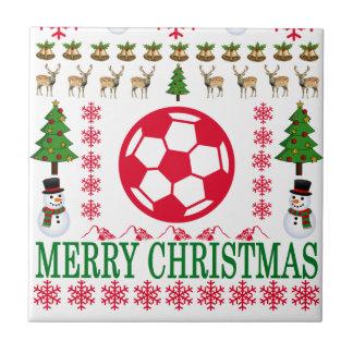 FOOT BALL MERRY CHRISTMAS . TILE