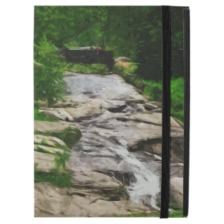 "Foot Bridge Over Rocky Stream and Falls Abstract iPad Pro 12.9"" Case"