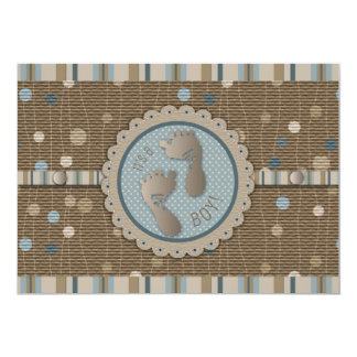 Foot Prints Boy Baby Shower Invitation