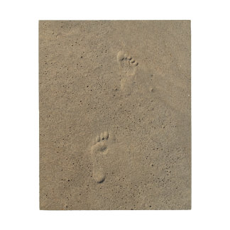 Foot Prints In The Sand Wood Canvases