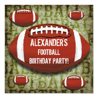 "Football 7th Birthday Party Vintage Green Grunge 5.25"" Square Invitation Card"