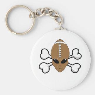 football alien Skull and Crossbones Basic Round Button Key Ring