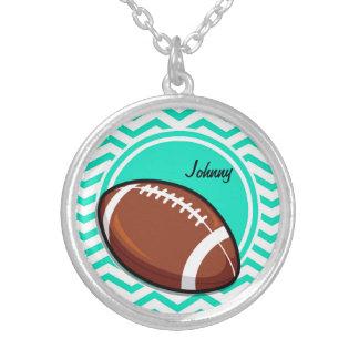 Football Aqua Green Chevron Custom Necklace